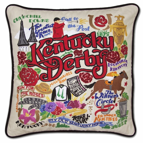 Kentucky Derby XL Hand-Embroidered Pillow by Catstudio (Special Order)