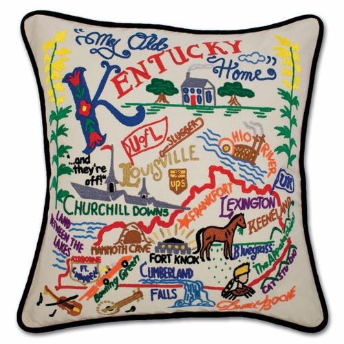 Kentucky XL Hand-Embroidered Pillow by Catstudio (Special Order)