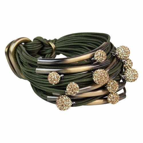 Khaki Brass Tubes Two-Tone Diamond Balls Bracelet by Gillian Julius