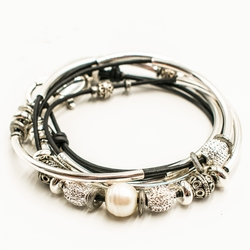 Kristy Metallic Gunmetal Large Bracelet by Lizzy James