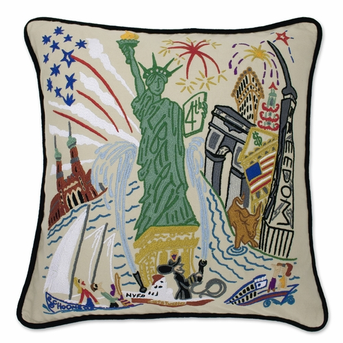 Lady Liberty XL Hand-Embroidered Pillow by Catstudio (Special Order)