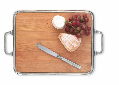 Large Cheese Tray with Insert & Handles by Match Pewter