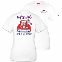 Large God Bless the USA White Short Sleeve Tee by Simply Southern