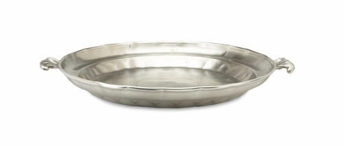 Large Round Low Bowl With Scroll Handles By Match Pewter