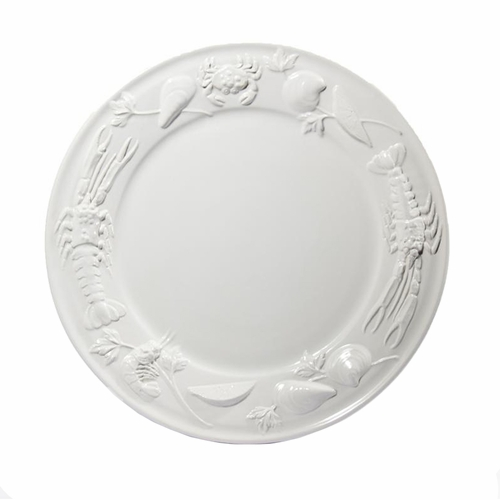 """PRE-ORDER - White Large Round Seafood Platter 16.5""""D - Intrada Italy"""