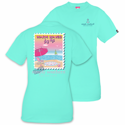 Large Warm Waves Lazy Days Aqua Short Sleeve Tee by Simply Southern