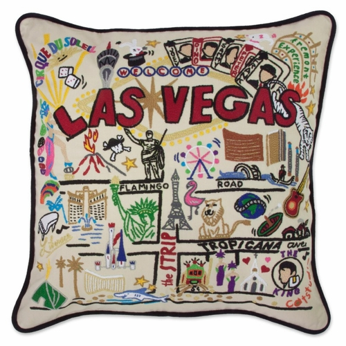 Las Vegas XL Hand-Embroidered Pillow by Catstudio (Special Order)