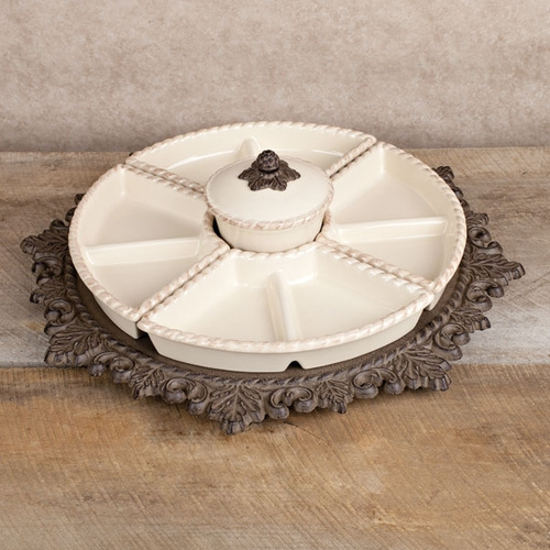Lazy Susan Crudite, Cream - GG Collection (Special Order)