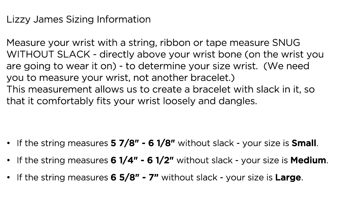 Lizzy James Sizing Information