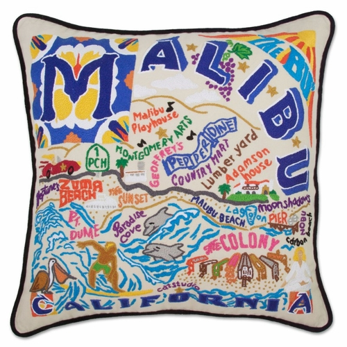 Malibu XL Hand-Embroidered Pillow by Catstudio (Special Order)
