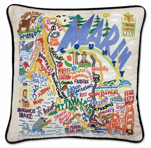 Marin County XL Hand-Embroidered Pillow by Catstudio (Special Order)