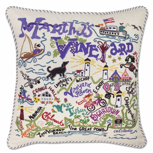 Martha's Vineyard XL Hand-Embroidered Pillow by Catstudio (Special Order)