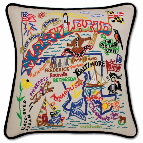 Maryland XL Hand-Embroidered Pillow by Catstudio (Special Order)