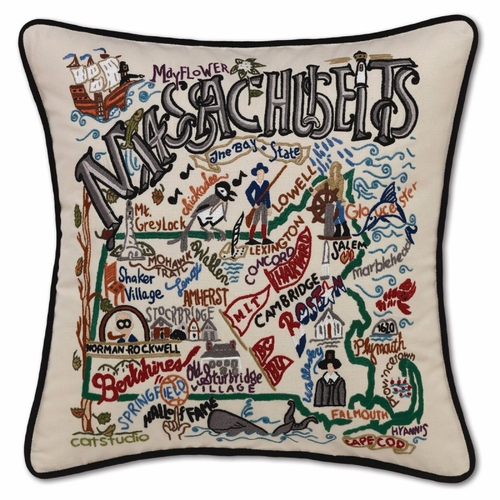 Massachusetts XL Hand-Embroidered Pillow by Catstudio (Special Order)
