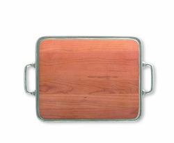 Medium Cheese Tray with Wood Insert & Handles by Match Pewter