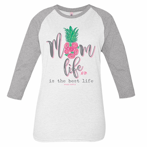 Medium Mom Life Is the Best Life White Gray Simply Faithful Long Sleeve Tee by Simply Southern
