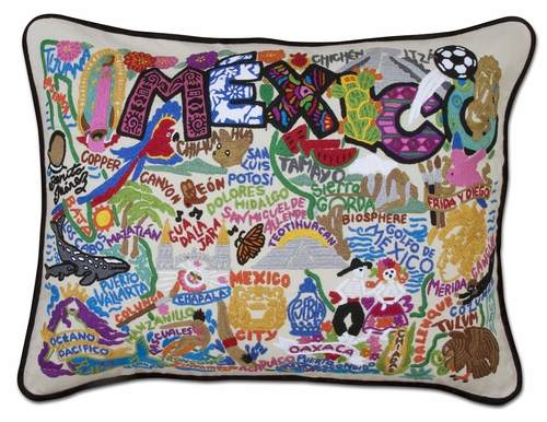 Mexico XL Hand-Embroidered Pillow by Catstudio (Special Order)