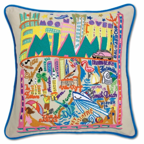 Miami XL Hand-Embroidered Pillow by Catstudio (Special Order)