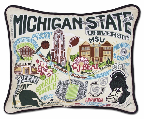 Michigan State University XL Embroidered Pillow by Catstudio (Special Order)