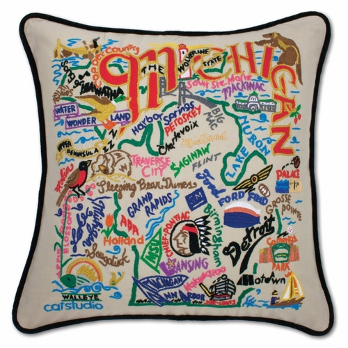 Michigan XL Hand-Embroidered Pillow by Catstudio (Special Order)