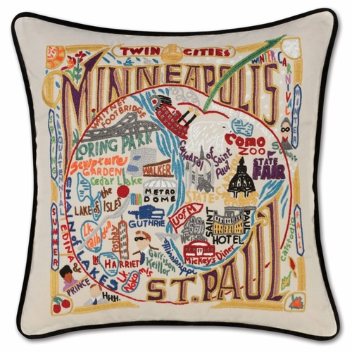 Minneapolis-St. Paul XL Hand-Embroidered Pillow by Catstudio (Special Order)