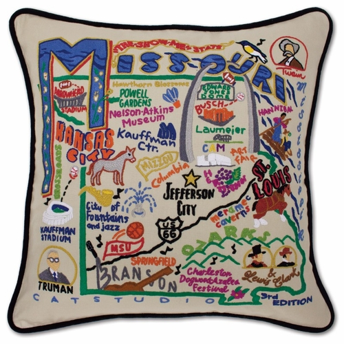 Missouri XL Hand-Embroidered Pillow by Catstudio (Special Order)