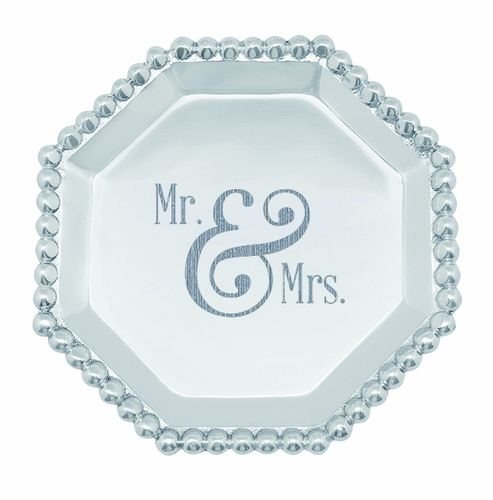 """""""Mr. & Mrs."""" Pearled Octagonal Canape Plate by Mariposa"""