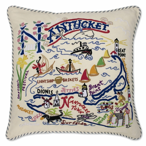 Nantucket XL Hand-Embroidered Pillow by Catstudio (Special Order)
