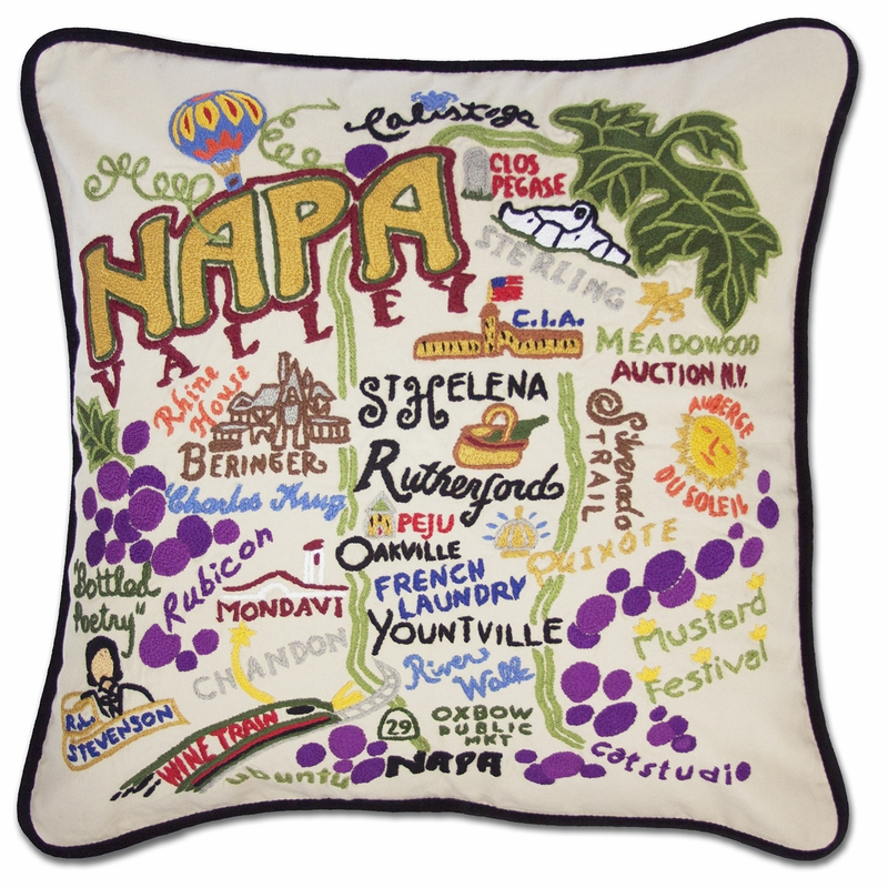 napa valley xl hand embroidered pillow by catstudio