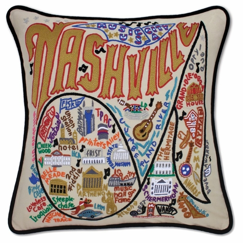 Nashville XL Hand-Embroidered Pillow by Catstudio (Special Order)