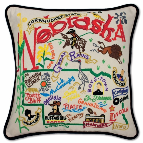 Nebraska XL Hand-Embroidered Pillow by Catstudio (Special Order)