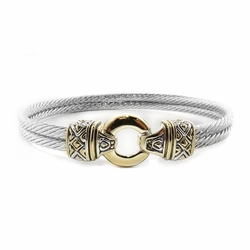 "7"" Gold Circle Double Wire Bracelet - John Medeiros"