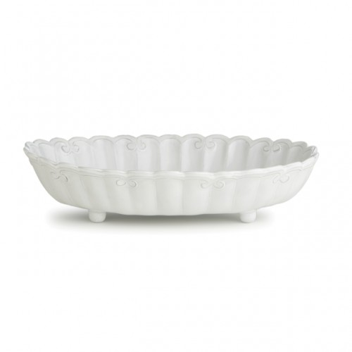 Bella Bianca Ribbon Shallow Serving Bowl - Arte Italica
