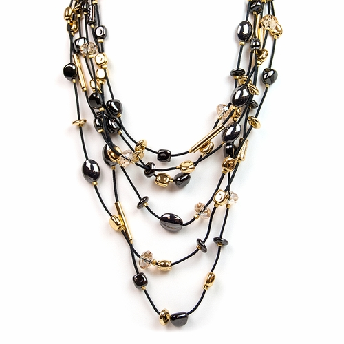 Black Gold Iridium Nugget Crystal Necklace by Gillian Julius