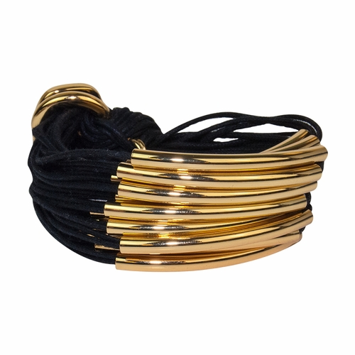 Black Gold Multi Tube Bracelet by Gillian Julius