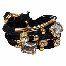 Black Gold Tubes Large Crystals Bracelet by Gillian Julius