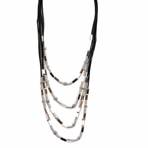 Black Silver Tubes Bead & Rondels Necklace by Gillian Julius (Special Order)