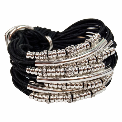 Black Silver Tubes Beads & Rondels Bracelet by Gillian Julius