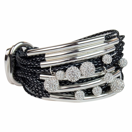 Black Silver Tubes Diamond Balls Metallic Cord Bracelet by Gillian Julius