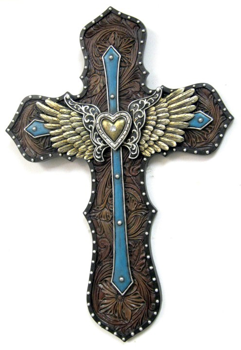 Blue Angel Wings & Heart DeLeon Wall Cross