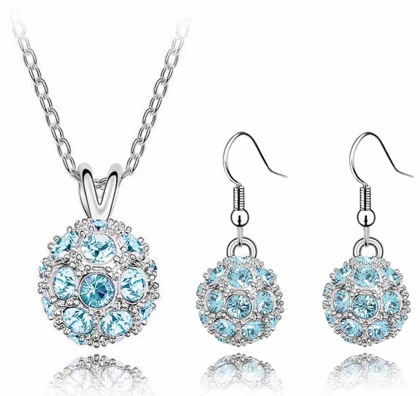 Blue Ice Orb Swarovski Elements Crystal Silver Plated Pendant Earrings Set