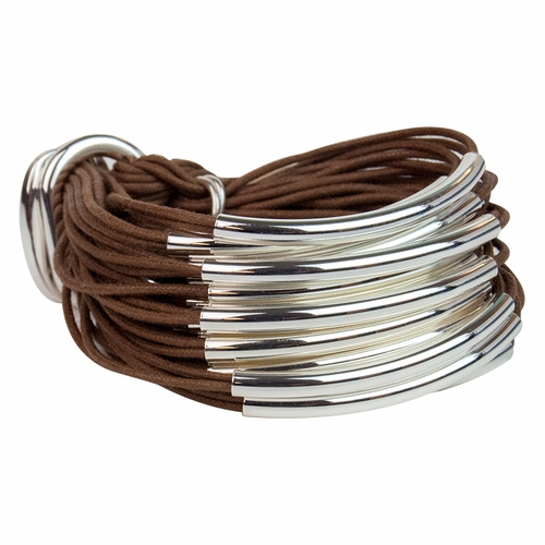 Coffee Silver Multi Tube Bracelet by Gillian Julius