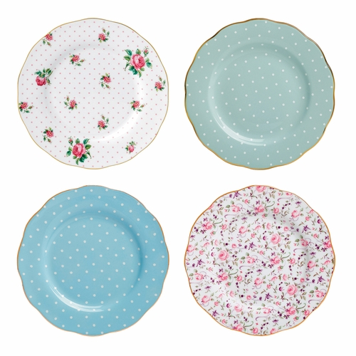 PRE-ORDER - New Country Roses Tea Party Mixed Patterns Accent Plates - Set of 4 - by Royal Albert -