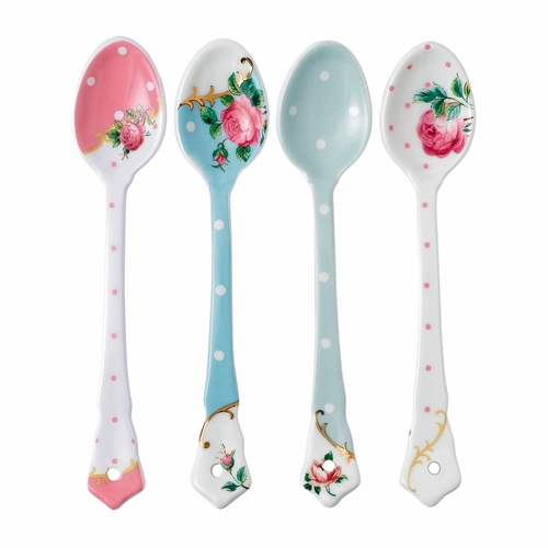 New Country Roses Tea Party Mixed Patterns Ceramic Spoons - Set of 4 - by Royal Albert - Special Order