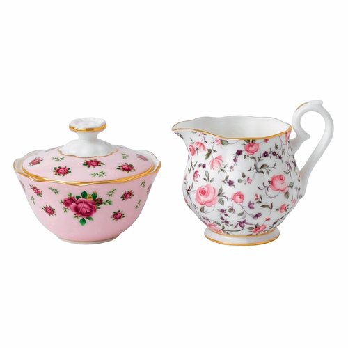 New Country Roses Tea Party Mixed Patterns Mini Creamer & Sugar Dish by Royal Albert - Special Order