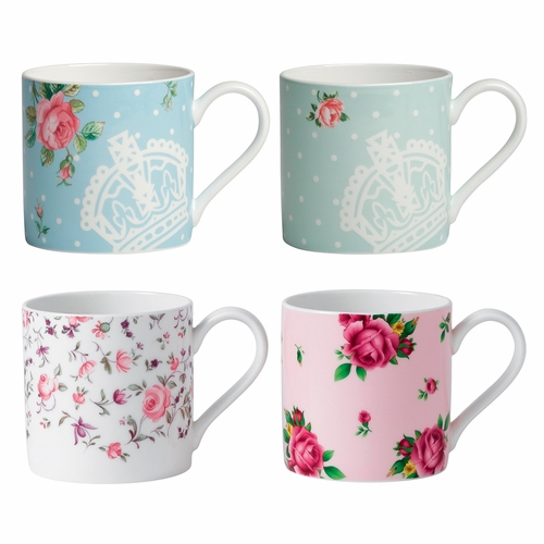 New Country Roses Tea Party Mixed Patterns Mugs - Set of 4 - by Royal Albert - Special Order