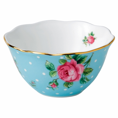 New Country Roses Tea Party Polka Blue Bowl by Royal Albert - Special Order
