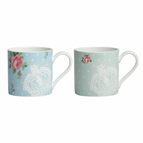 New Country Roses Tea Party Polka Rose & Polka Blue Mug Set by Royal Albert - Special Order