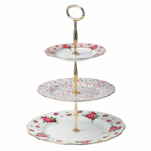 New Country Roses White 3-Tier Cake Stand by Royal Albert
