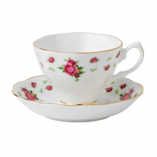 New Country Roses White Teacup & Saucer Set by Royal Albert - Special Order